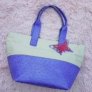 STONE MOUNTAIN BAG TOTE CREAM PURPLE BUTTERFLY